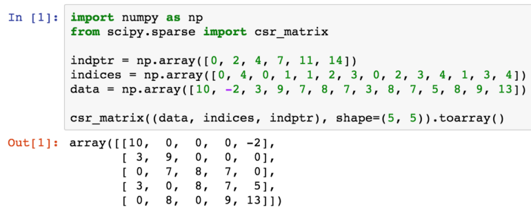 Example of initializing a SciPy Compressed Sparse Row (CSR) matrix